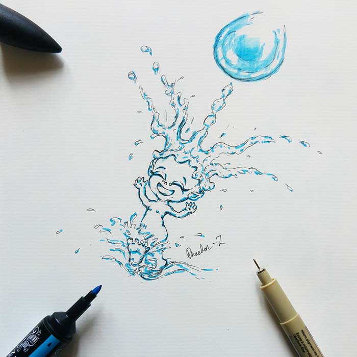 Ink and marker drawing of a water sprite called The Rain King  by Phaedon-Z