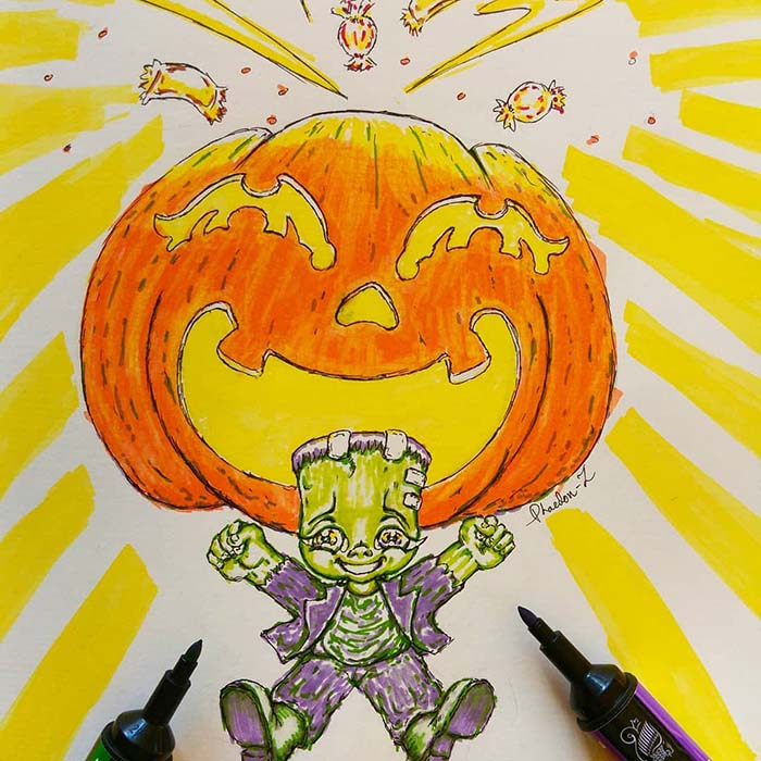 Ink and fineliner sketch of a happy little Frankenstein monster jumping in front of a giant jack o' lantern pumpkin bursting with sweets, created by Phaedonstar