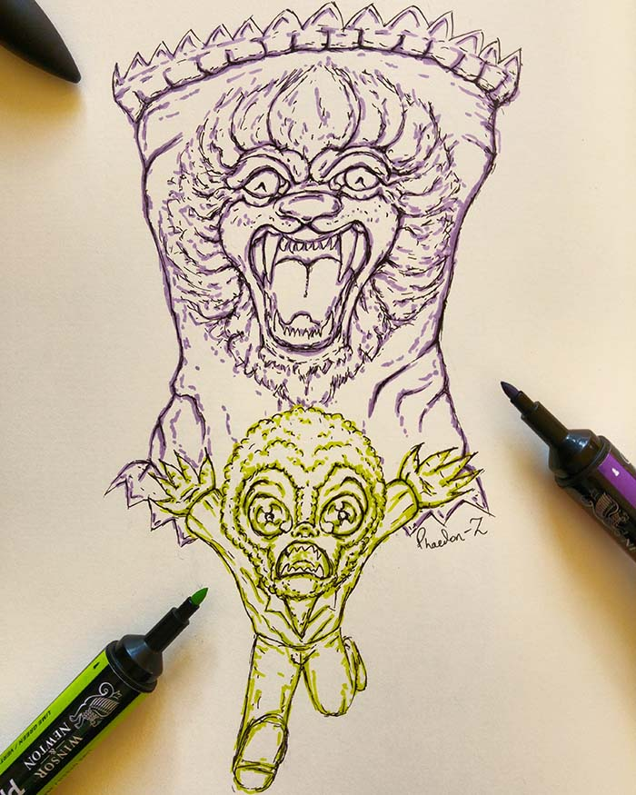 Ink and fineliner sketch of a giant lion treat chasing a mini-Wolfman, created by Phaedonstar