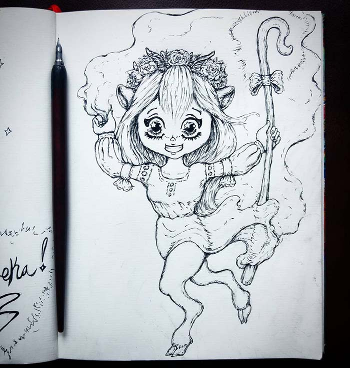 Ink drawing of a Dancing Billygoat Witch b y Phaedon-Z