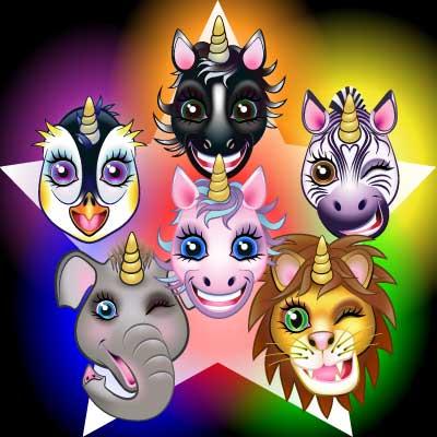 Six unicorn characters