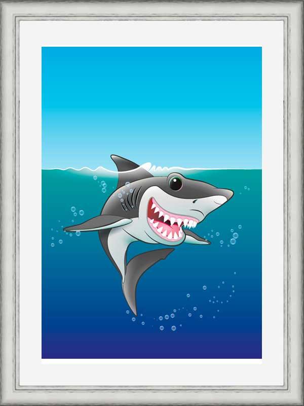 Silver-framed original art print Shark Fin Fun by Jeff West