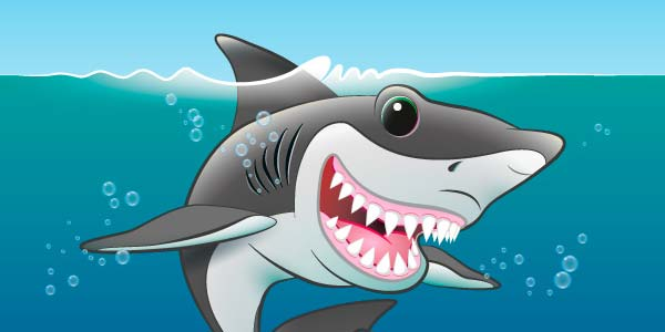 Shark Fin Fun digital artwork by Jeff West close up