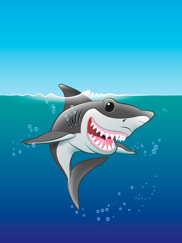 Unframed original art print Shark Fin Fun by Jeff West