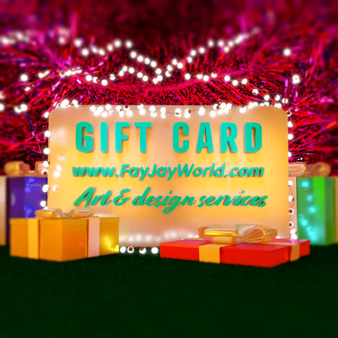 3D model of the FAyJay gift card surrounded by gift packages and lights created by Phaedon Star