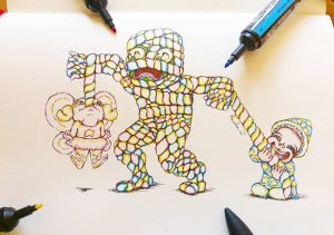 Sketch of a mummy made of marshmallow that's being eaten by a little girl dressed up as a fairy and a little boy dressed up as a wizard.
