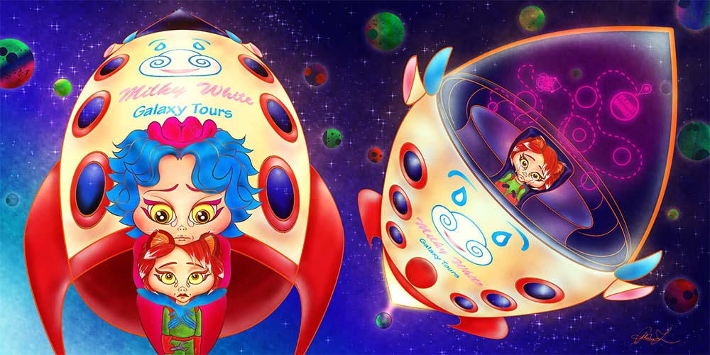 Digital illustration spread in full colour from Jack and the Spacestalk, picture book written and illustrated by Phaedon-Z