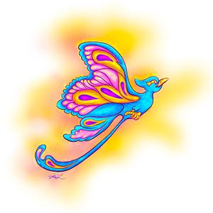 Digital illustration of the FayJay butterfly bird by Phaedon-Z