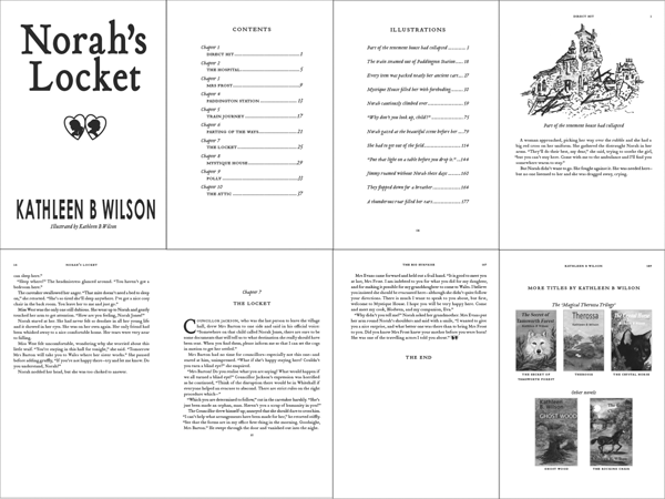 Norahs Locket novel interior design elements, sections and typography