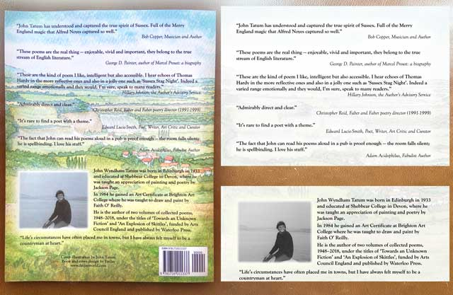 Back cover blurb may peer reviews, quotes and biography text layout in harmony with the arwork