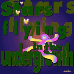 Digital illustration featuring the words STARS FLYING IN THE UNDERGROWTH and a colourful bunny chasing three glowing stars with wings