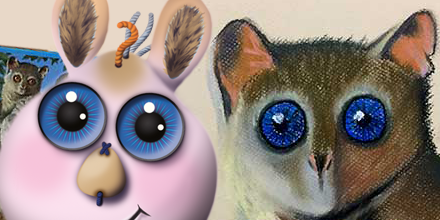 Children's book character, Yggy, and a pastel drawing of a galago primate focused on their eyes