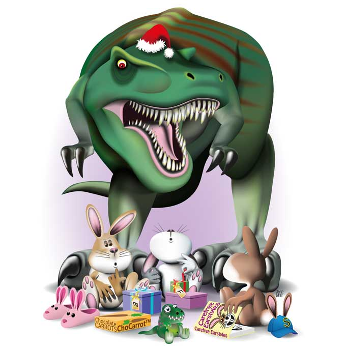 Original art print of Christmas card tyrannosaurus towering over three bunnies unwrapping their presents