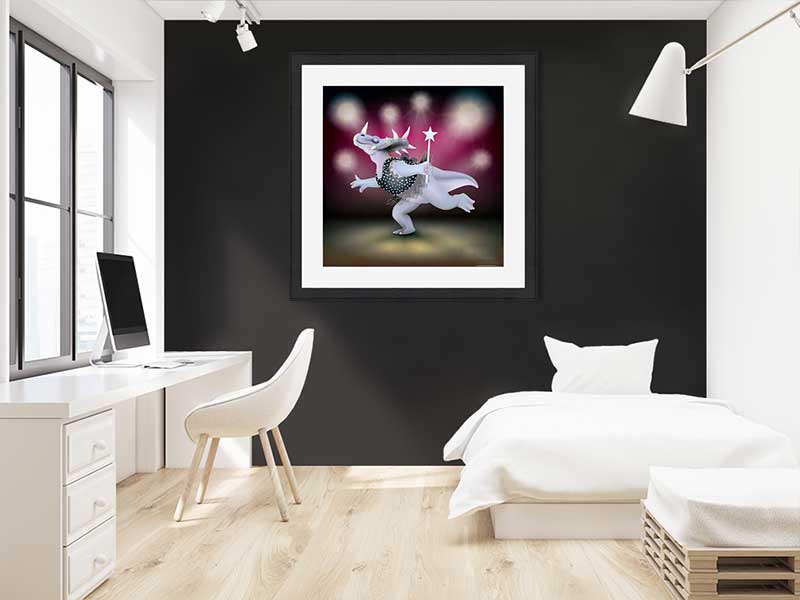 Slate-framed original art print of Dancing Fairy Styracosaurus Dinosaur Black Glitter on Ruby by Jeff West in a child's room