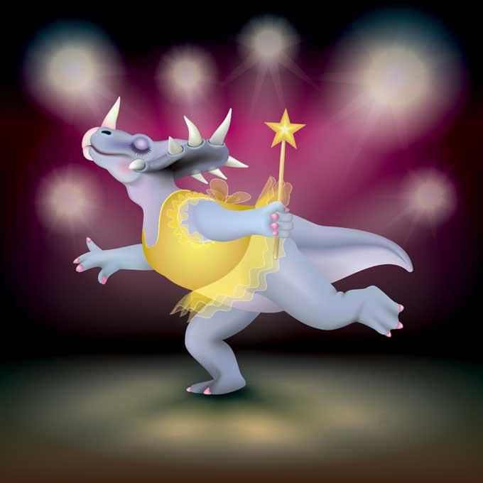 Unframed original art print of Dancing Fairy Styracosaurus Dinosaur Gold on Ruby by Jeff West