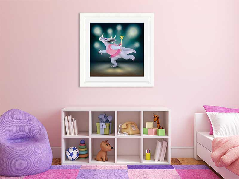 White-framed original art print of Dancing Fairy Styracosaurus Dinosaur Pink on Aqua by Jeff West in a child's room
