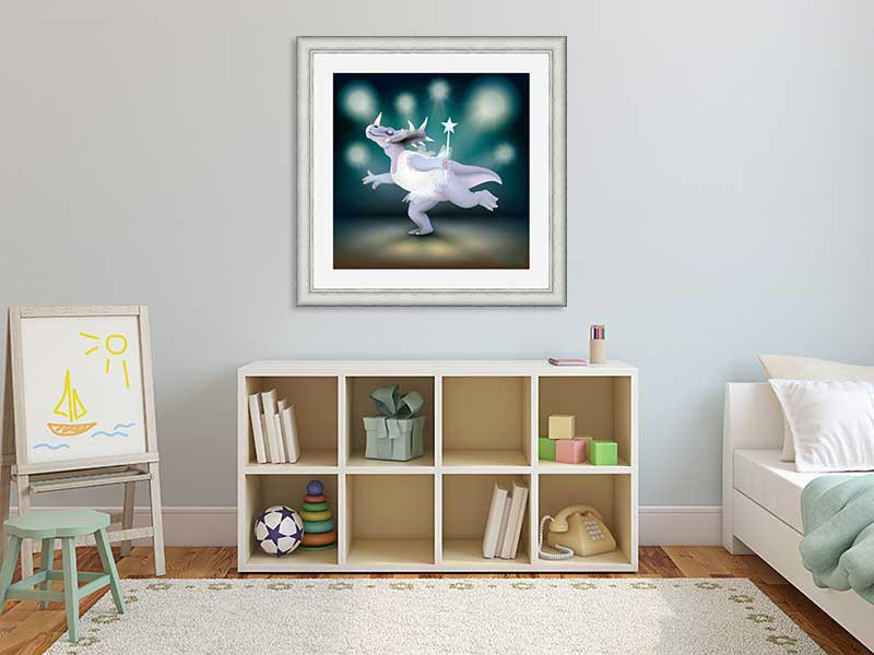 Silver-framed original art print of Dancing Fairy Styracosaurus Dinosaur White Glitter on Aqua by Jeff West in a child's room