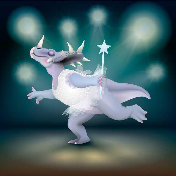 Unframed original art print of Dancing Fairy Dinosaur Styracosaurus White Glitter on Aqua by Jeff West