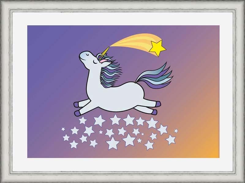 Silver-framed original art print of grey flying unicorn