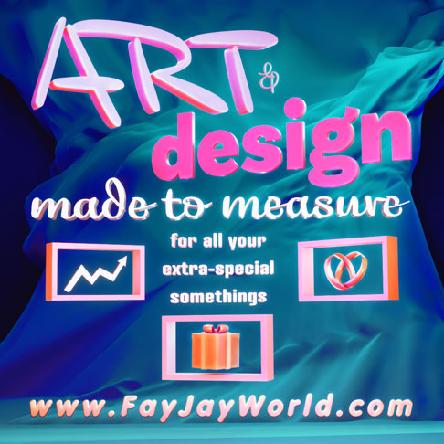3D flyer advertising FayJay's made to measure art and design services created by Phaedonstar