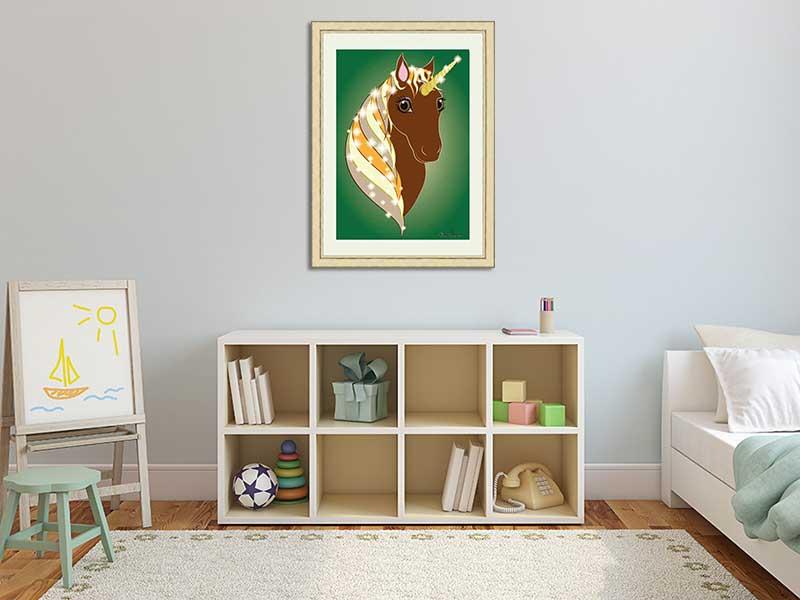 Chestnut unicorn framed print in a child's room