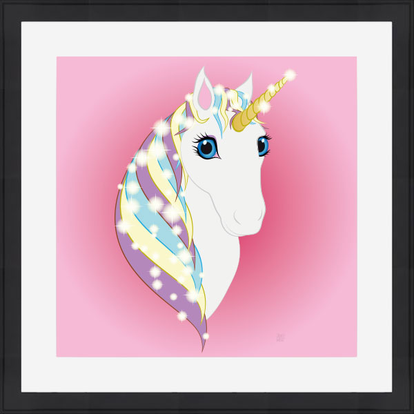 Framed original art print of whire unicorn pink background black frame