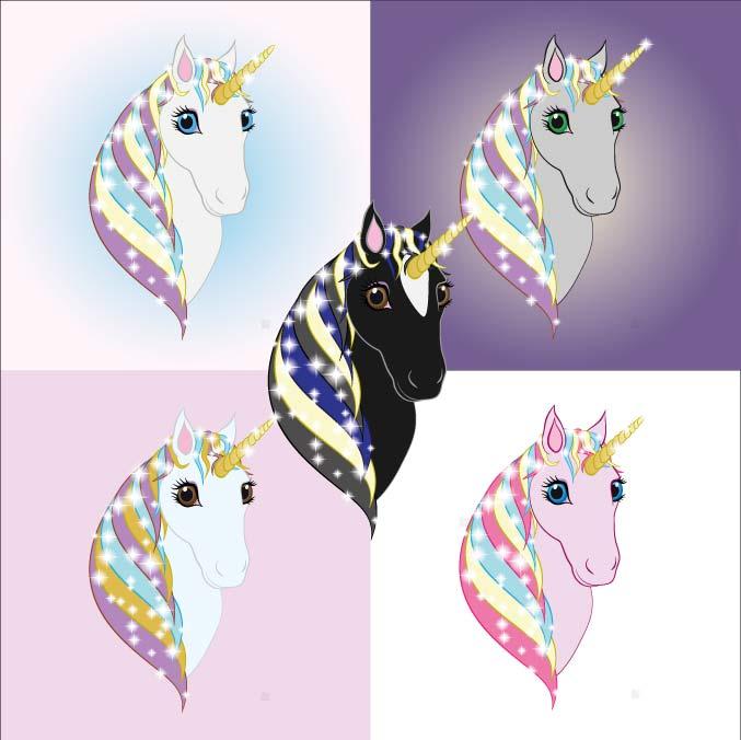 Original art print of 5 unicorns or various colours