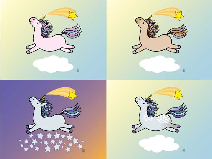 Original art print of 4 variations of a flying unicorn